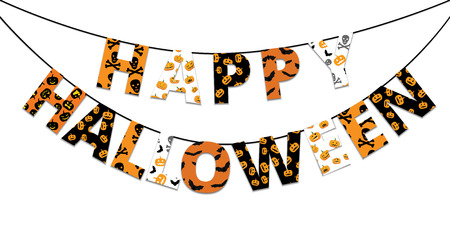 Halloween orange and black banner with greetings Happy Halloween Çizim