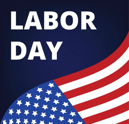 bandera blanca: D�a del Trabajo - cartel de fiesta americano con la bandera de EE.UU.