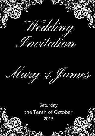 elegant white: Wedding invitation template with lace on black background Illustration