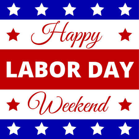 happy holidays text: Happy Labor Day - poster for american holiday