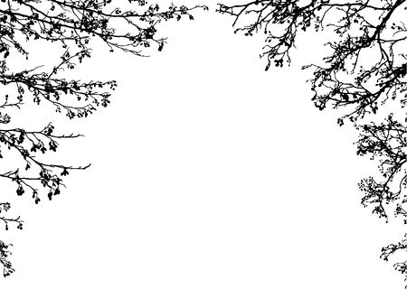 Black silhouettes of tree branches. Clip art frame Vettoriali