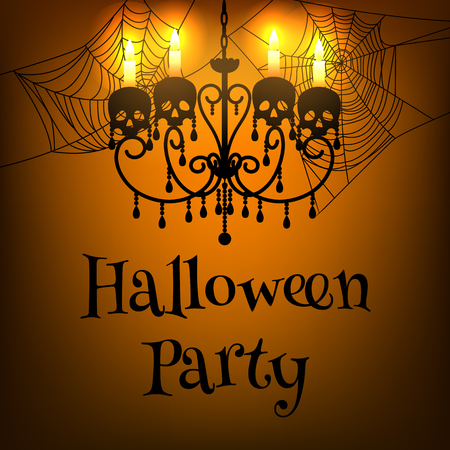 white candle: Halloween party poster with skull, spider webs and chandelier