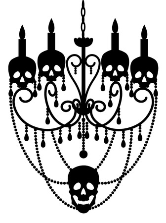 white party: Chandelier with skulls isolated on white for Halloween design