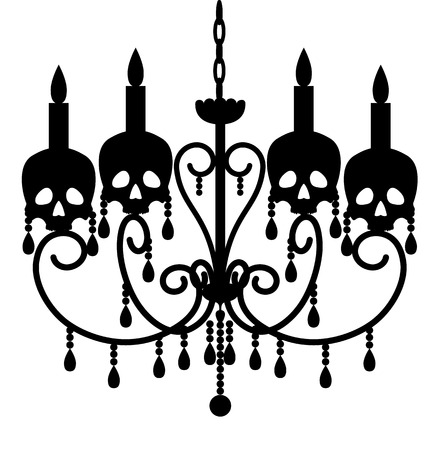 chandelier: Chandelier with skulls isolated on white for Halloween design