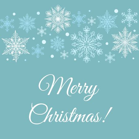 Merry Christmas greetings card with snowflakes border