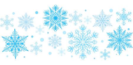 clip art: Fiocchi di neve elemento decorativo. Orizzontale senza soluzione di frontiera. Clip art Vettoriali