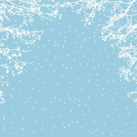 trees silhouette: Winter frozen tree branches frame. Template for invitation