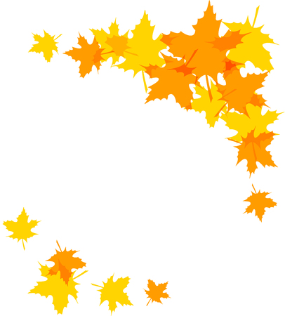 Autumn leaves decorative borders isolated on white. Clip art Illustration