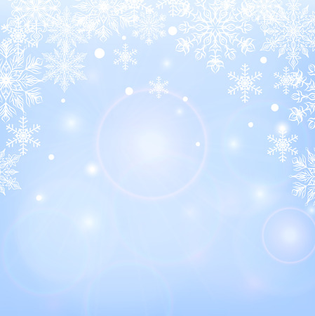 winter background: Winter shiny background with snowflakes on blue background Illustration
