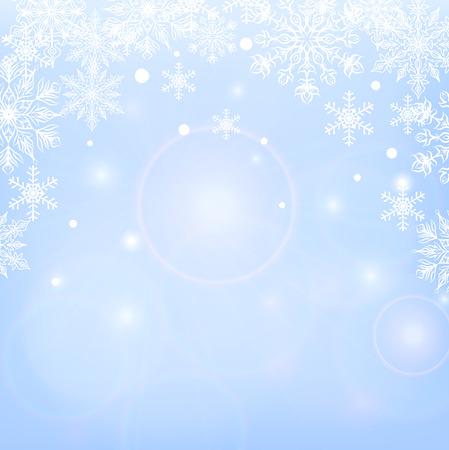 shiny background: Winter shiny background with snowflakes on blue background Illustration