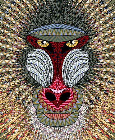 animal head: Mandrill monkey head. Artistic illustration of animal portrait