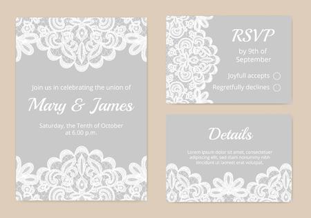 свадьба: Шаблоны приглашение кружева карты для свадьбы Иллюстрация