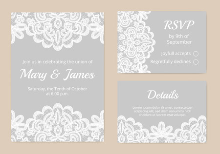 a wedding: Templates of invitation lace cards for wedding