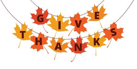 caes: Dar Gracias texto en las hojas de otoño - saludos de decoración para el Día de Acción de Gracias