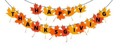caes: Texto Feliz Acción de Gracias en las hojas de otoño - saludos decoración para el día de Acción de Gracias