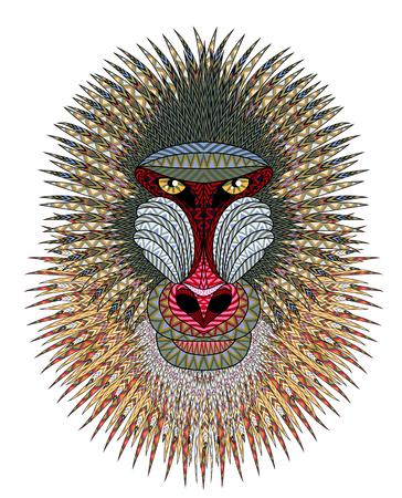 arte africano: Cabeza de mono Mandrill. Ilustraci�n art�stica del retrato animal