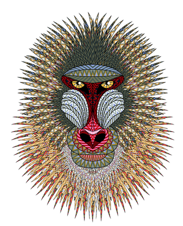 Mandrill monkey head. Artistic illustration of animal portrait