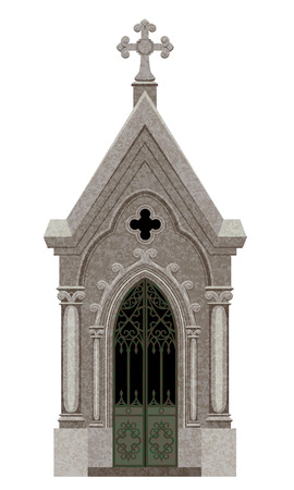 crypt: Old Gothic Crypt Isolated on White for Halloween Design Illustration
