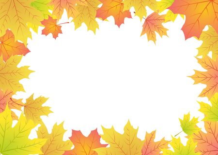 leaves frame: Autumn maple leaves frame with place for text Illustration
