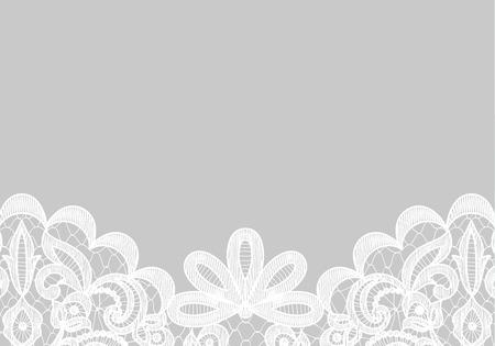 Hochzeits-Einladung oder Grusskarte mit Spitzen Grenze auf grauem Hintergrund isoliert Standard-Bild - 45937181