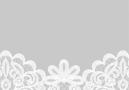 Wedding invitation or greeting card with lace border isolated on gray background