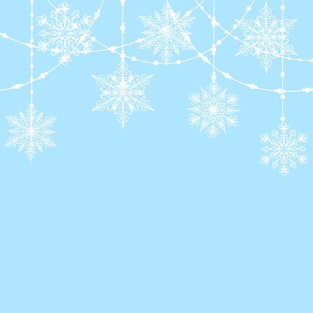 vintage card: Christmas decoration with snowflakes on blue background Illustration