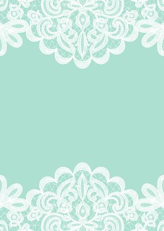 Hochzeits-Einladung oder Grusskarte mit Spitzen Grenze auf grünem Hintergrund Standard-Bild - 45937416