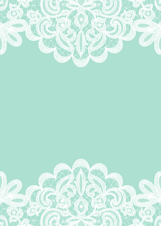 Wedding invitation or greeting card with lace border isolated on green background Illustration