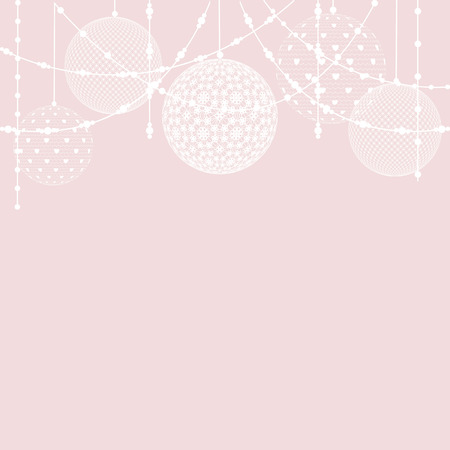 pink christmas: Christmas lace bauble decorations on pink background Illustration