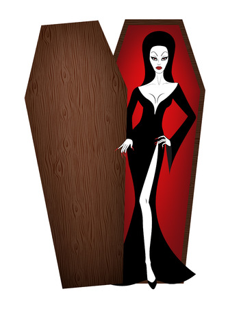 Beautiful sexy vampire woman in opened coffin Illustration