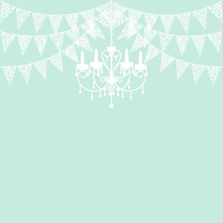 Wedding invitation card template with white lace bunting and chandelier on green background