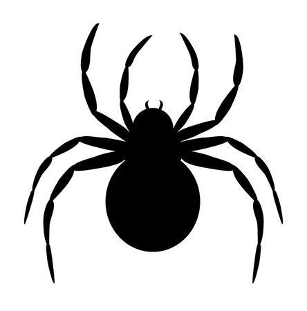 Silhouet van zwarte spin op wit wordt geïsoleerd Stock Illustratie