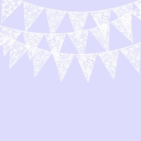 violet background: Modello di nozze invito con pizzo bianco pavese e lampadario su sfondo viola