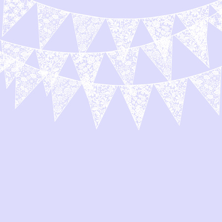 flag banner: Wedding invitation card template with white lace bunting and chandelier on violet background Illustration