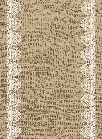 burlap: Wedding invitation template in rustic style with lace and sacking Illustration
