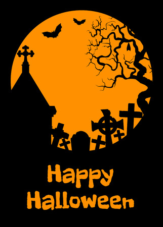 tumbas: Tarjeta de Halloween con las criptas, tumbas y los murciélagos