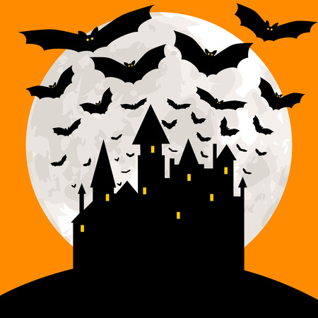 bate: Tarjeta de Halloween con castillo, murciélagos y cielo anaranjado Vectores