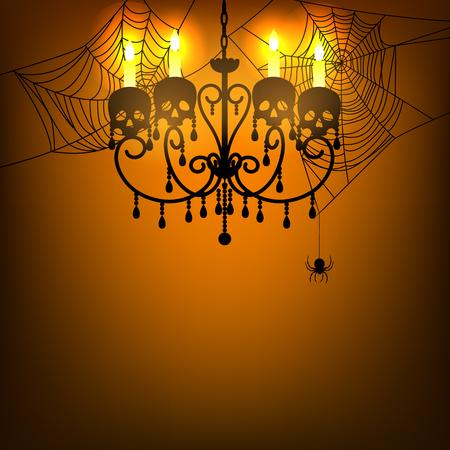 chandelier: Halloween background with chandelier, spider and spiderweb
