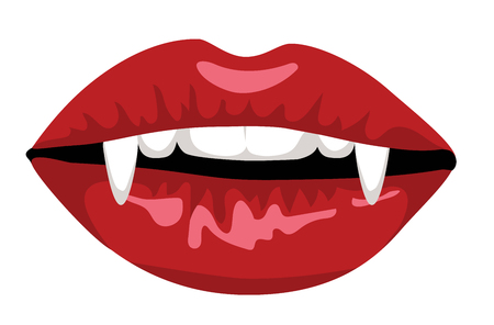 Red lips of vampire with long fangs isolated on white
