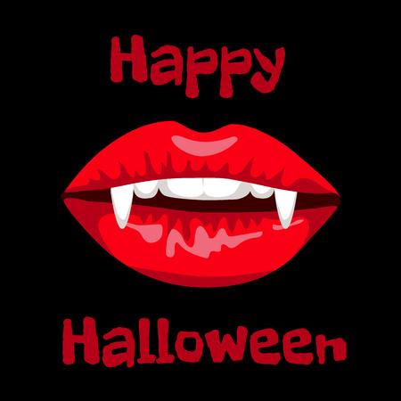 vampire teeth: Happy Halloween card with red lips of vampire Illustration
