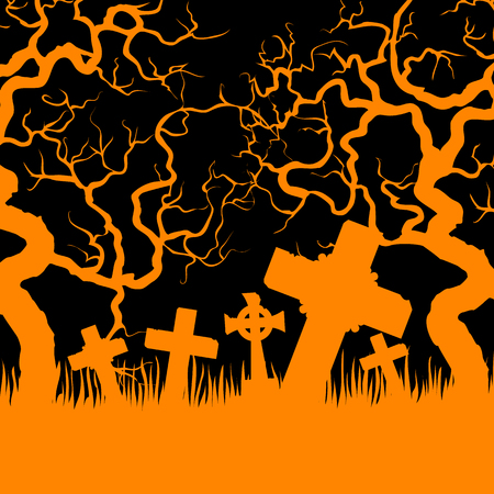 black background abstract: Halloween card with orange cemetery and trees