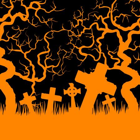 orange trees: Halloween card with orange cemetery and trees