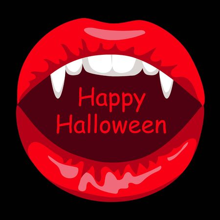 sexy black woman: Halloween card with open mouth of vampire woman