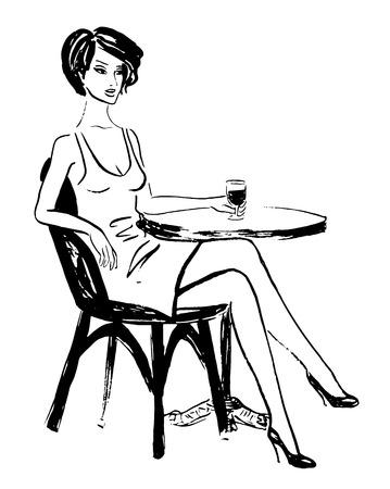 Moda schizzo di donna seduta in bar e bere vino Archivio Fotografico - 47413469