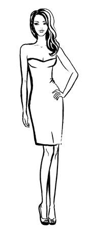 sexy young woman: Fashion sketch of beautiful young woman in dress Illustration