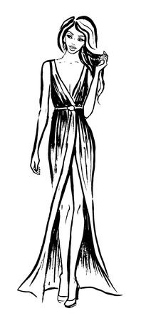 evening dress: Young beautiful woman in evening dress playing with her hairs Illustration