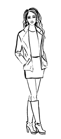 fila de personas: Bosquejo de la manera de la mujer en la chaqueta, vestido y botas