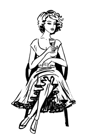 fashion design sketch: Young woman in beautiful dress sitting and drinking wine