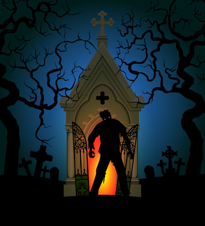 Halloween poster with zombie and crypt at night