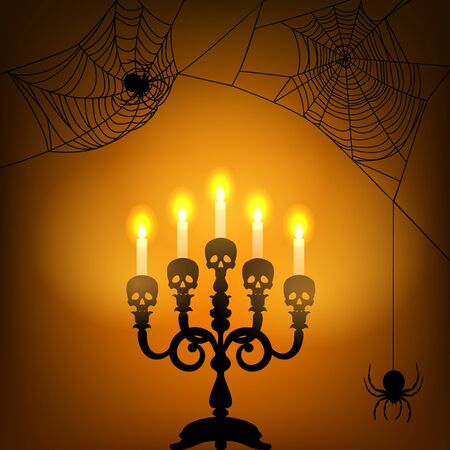 halloween spider: Halloween card with candle light and spider webs